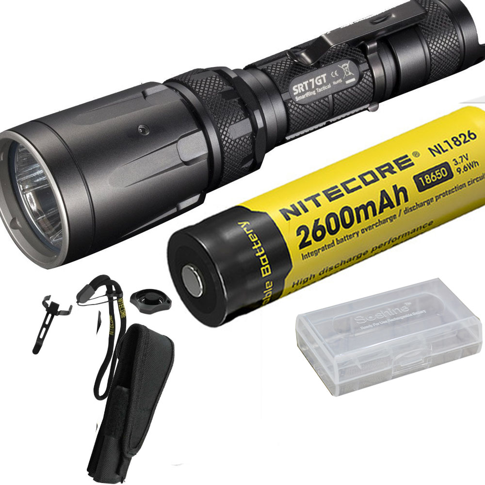 NITECORE SRT7GT Flashlight Set CREE XP-L HI V3 RGB UV Flashlight max 1000LM beam distance 450m torch + NL1826 18650 battery nitecore p12gt cree xp l hi v3 1000lm led flashlight 320 meter torch new i2 charger 18650 3400mah battery for search