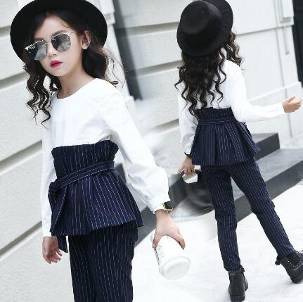 Children Stripe Outfits for Teenage Girls Long Sleeve Clothes Sets Girls School Tops & Pants 2Pcs Suits  Kids Clothing Sets