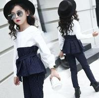 Children Stripe Outfits For Teenage Girls Long Sleeve Clothes Sets Girls School Tops Pants 2Pcs