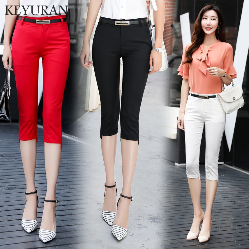 Summer   Capris   Leggings formal   pants   For Women 2017 Red Black White Stretch Pencil   Pants   Ladies Casual Skinny Trousers Plus Size