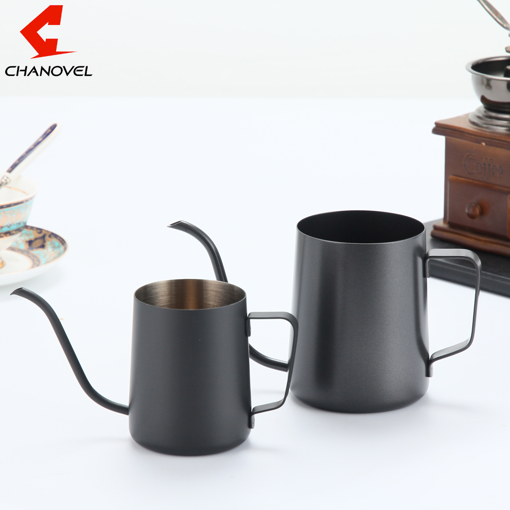 CHANOVEL stainless steel mounting bracket hand punch pot coffee pot drip gooseneck spout Long Mouth coffee kettle Teapot