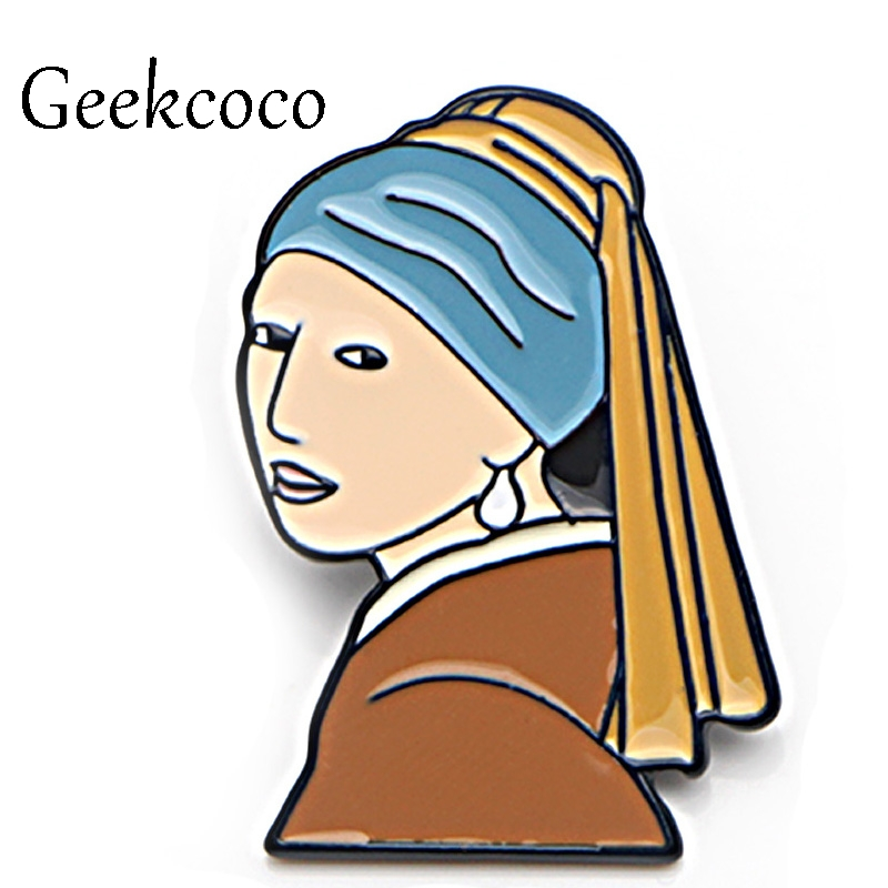 Girl with a pearl earring oil painting Zinc Alloy Pins backpack clothes brooches for men women hat decoration badges medal J0018