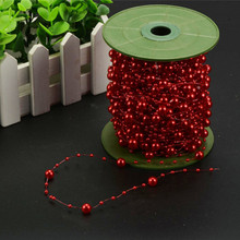 60m red 8 3 Imitation Pearl Fishing Line Beads Artificial ABS Plastic Chain Garland Christmas Wedding