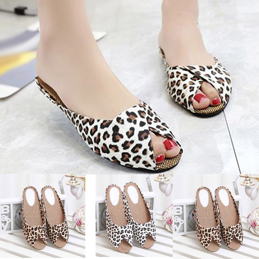Casual Sandals Femme Square Heel Female Fish-Mouth Sexy Fashion Women's Leopard Low