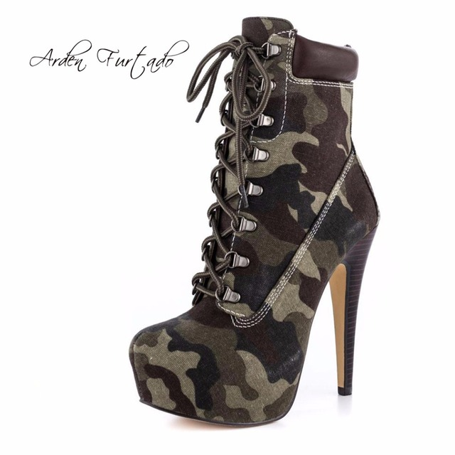 213b9e2425ba8 Arden Furtado 2018 new spring platform high heels 15cm stilettos fashion  camouflage ankle boots shoes woman lace up yellow boots
