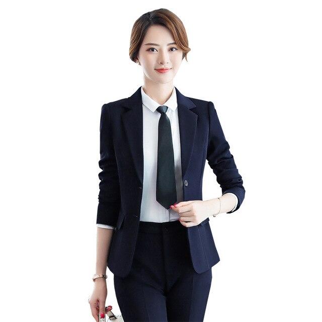 Women's Korean Fashion Pants and Blazers Spring Autumn Pant Suit Work Wear Women Office 2 Piece Set Pantsuit Slim Trouser Suits