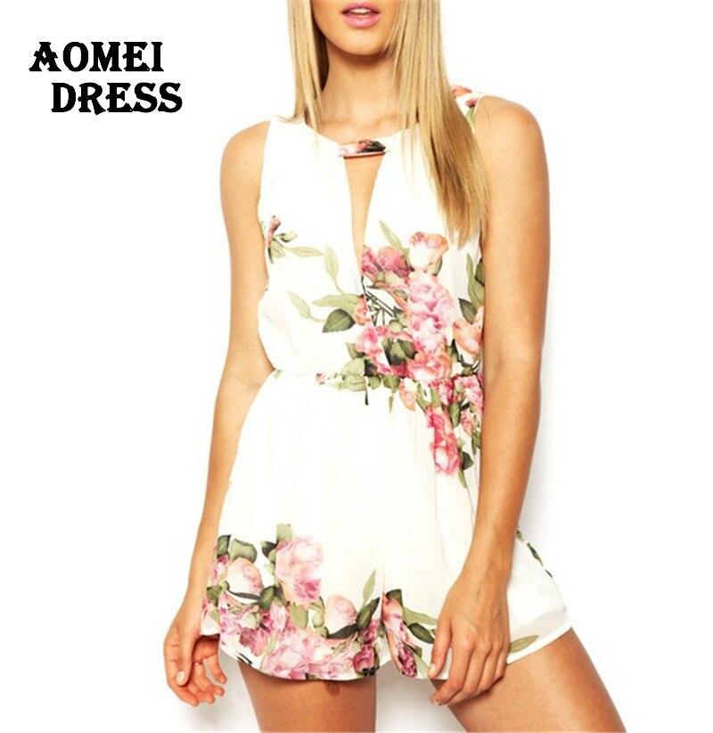 06dbd40db76 Open Back chiffon floral romper womens Summer playsuits jumpsuit 2018  summer cute feminino vestidos female overalls Clothing on Aliexpress.com