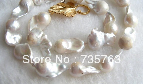 xiuli 00970 AMAZING 25mm white SOUTH Reborn keshi baroque pearls necklace