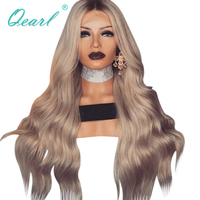 Full Lace натуральные волосы парики бразильского Волосы remy натуральный парик волна средняя часть ломбер блондинка с темными корнями Цвет Qearl