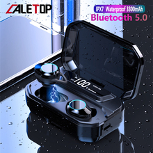CALETOP G02 TWS Bluetooth 5.0 Earphone Stereo Wireless Headphone With Mic IPX7 Waterproof LED Power Display 3300mAh Bank