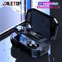 CALETOP G02 TWS Bluetooth 5.0 Earphone Stereo Wireless Headphone With Mic IPX7 Waterproof LED Power Display 3300mAh Power Bank