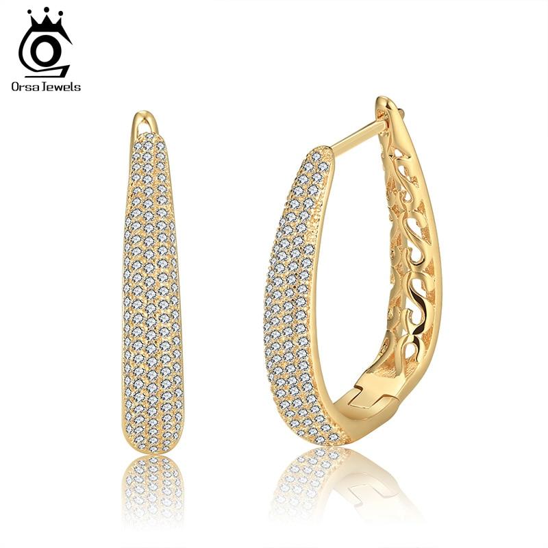 ORSA JEWELS Mewah Warna Silver Hoop Earrings Diaspal dengan AAA Austria Cubic Zirconia untuk Wanita Fashion Jewelry Gaya Baru OE139
