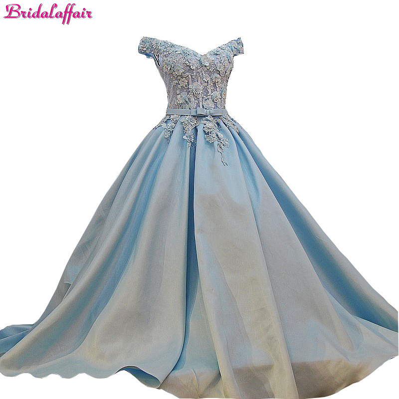 Luxury Real Photos Appliques Wedding Dress Satin Sweetheart Floor Length Baby Blue Dresses 2018 With Flowers