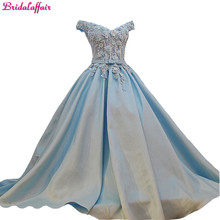 Luxury Real Photos Appliques Wedding Dress Satin Sweetheart Floor Length Baby Blue  Dresses 2018 With Flowers Designer Customize