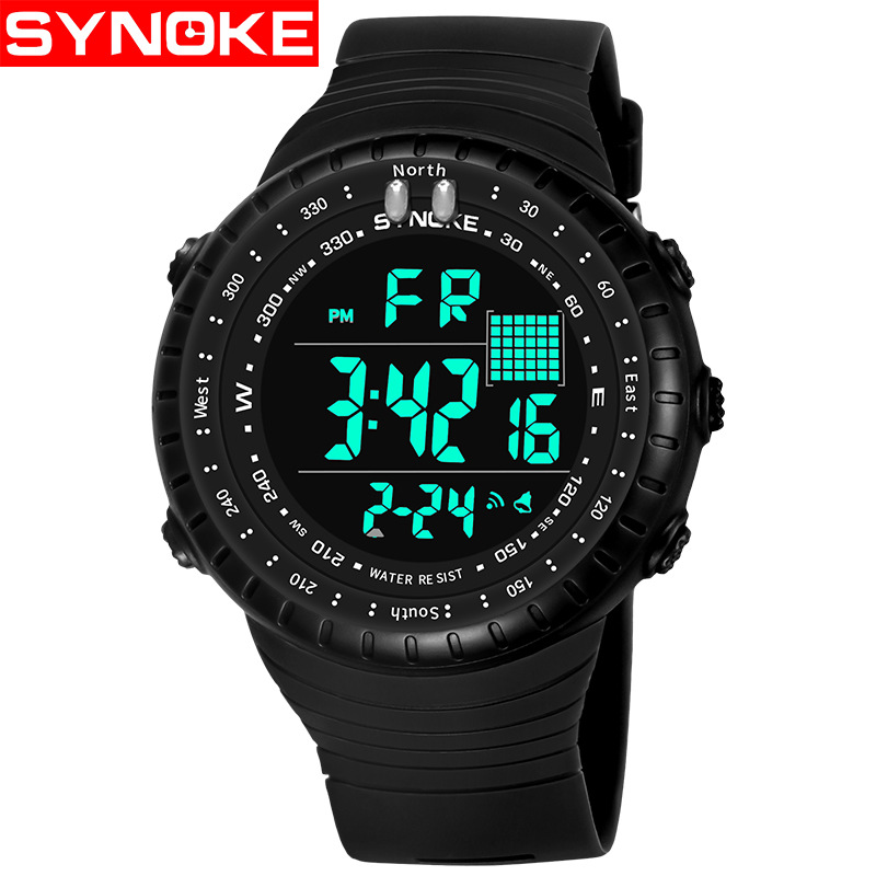 Synoke burst waterproof multifunctional outdoor electronic watch led fashion male students sports screen 9648 at any time R37