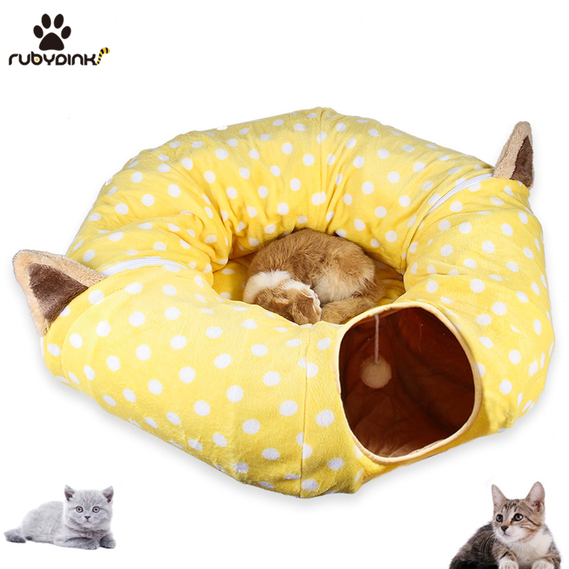 Cat Play toy Tunnel Funny Pet Tunnel Foldable Bulk Small Pet Toys Portable Rabbit Pet Tunnel Cat Beds House and Sleep with Ball