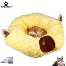 Игрушка для кота туннель Забавный ПЭТ складной туннель объемные игрушки для домашних животных маленького размера Портативный Кролик Pet туннель лежанки для кошек дом и сон с мячом