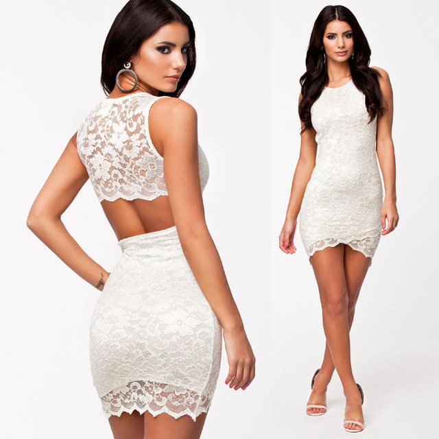 Vintage black and white lace dress