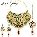 Flor de joyas de cristal austriaco de moda de bollywood kundan choker collar colgante pendientes de circón hairwear para las mujeres collar