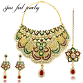 Vogue Bollywood Flower Jewelry Sets Austrian Crystal Kundan Choker Necklace Hanging Earrings Hairwear Zircon for Women Collar