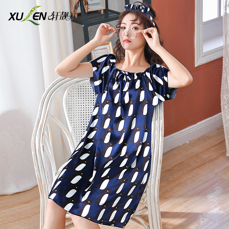Ladies summer night dress women kawaii dressing   nightgown   and   sleepshirt   plus size home wear sleep and lounge female nightwear