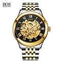 Angela bos de oro reloj automático esquelético de los hombres mecánicos de zafiro luminoso inoxidable reloj de pulsera de lujo homme montre automatique