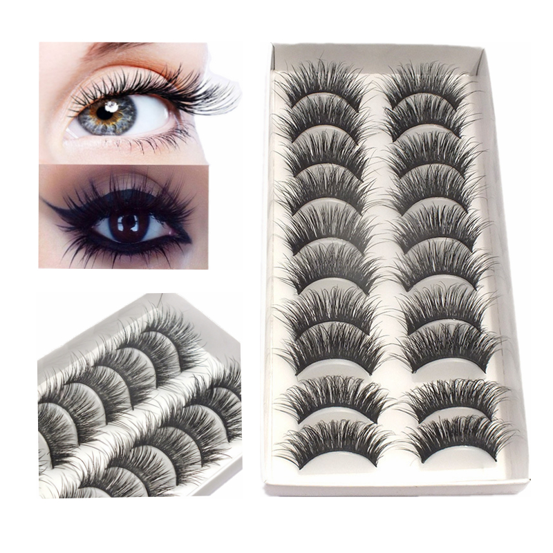 10 Pairs False Eyelashes Hand Made Thick 3D Mink Hair Fake Lash Full Strip Lashes Extension Soft Long Mink Eyelash