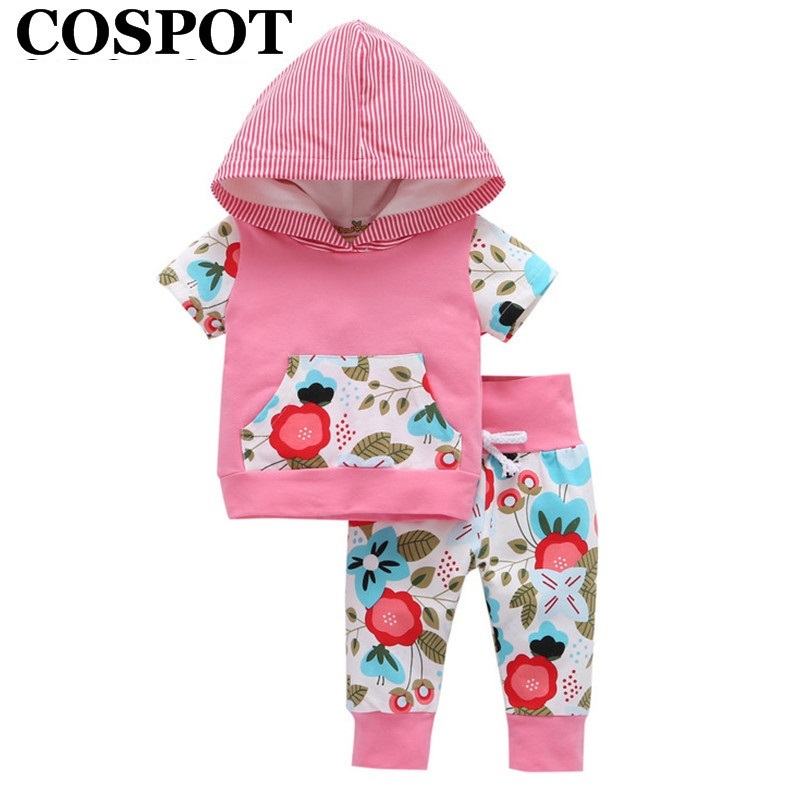 COSPOT 2018 New Baby Girls Clothing Set Summer Short Sleeved Cotton Floral Hooded Suit Girls Clothes 2Pcs Sets Hoodies+Pants 35E