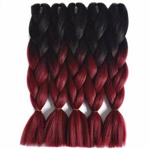 Feilimei Ombre Jumbo Braiding Hair Extensions Synthetic Japanese Fiber 24 Inch 100g/pc Gray/Purple/Blue/Red Crochet Braids Hair