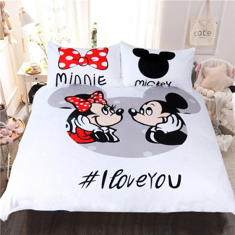 3 pièce/ensemble Mickey minnie souris ensembles de literie dessin animé couette couvre adulte enfant jumeau pleine reine roi taille 3d linge de lit décor fille