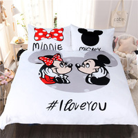 3pc/set Mickey minnie mouse bedding sets cartoon comforter covers adult kid twin full queen king size 3d bed linens decor girl