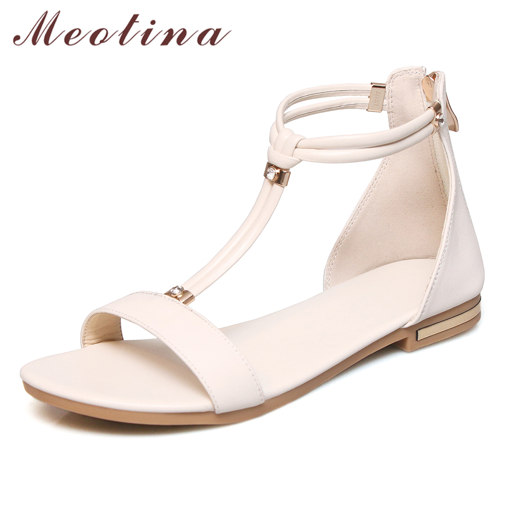 New Woman Genuine Leather Sandals High Heel Platform Rome Shoes Summer T Buckle Weeding Shoes Size 33-40,Black,8