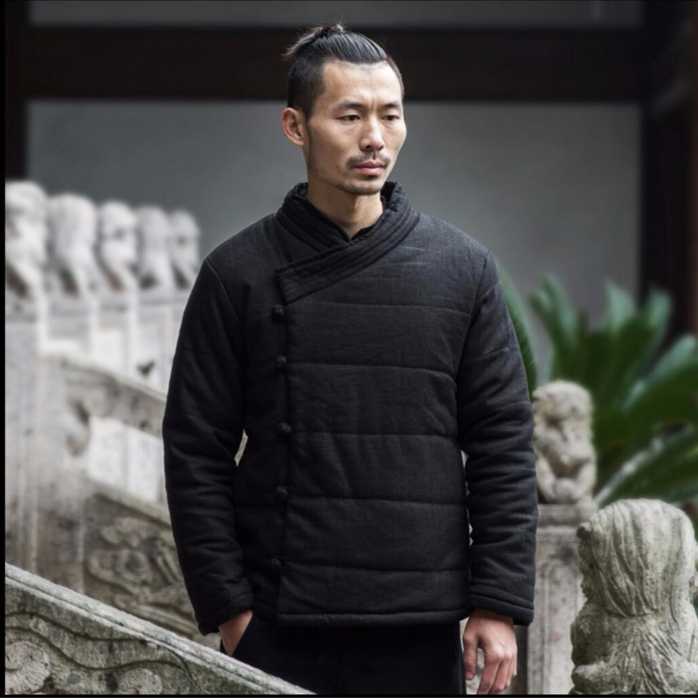 M 3xl Winter Chinese Stijl Katoen Gewatteerde Jassen Mannen Mode Toevallige Gesp Jas Jonge Retro Dikker Katoenen Jas Linnen Kleding