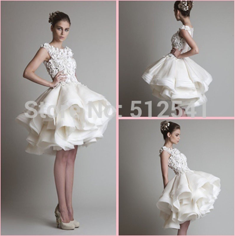 a line o neck appliqued lace white satin and layers organza short wedding dresses