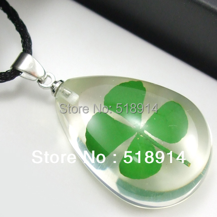 Real 4 Four Leaf Lucky Clover Necklace Shamrock Pendant Drop Heart Shape Resin Jewelry Girl Lady Gift Boy Present - LOTUS INCENSE WAY store