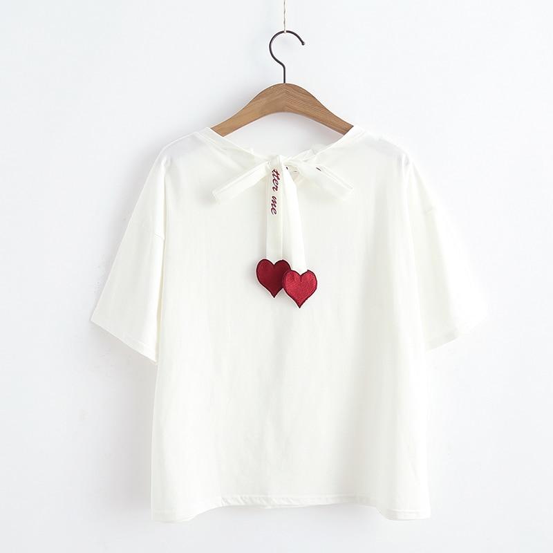 2018 Summer   T  -  shirt   Women Fashion Tees   Shirt   Femme Lovely Letters Printed Harajuku Hearts   T     Shirt   Kawaii Preppy Style Tops