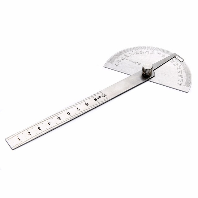 180 Degrees Angle Ruler Goniometer Stainless Steel Protractor Round