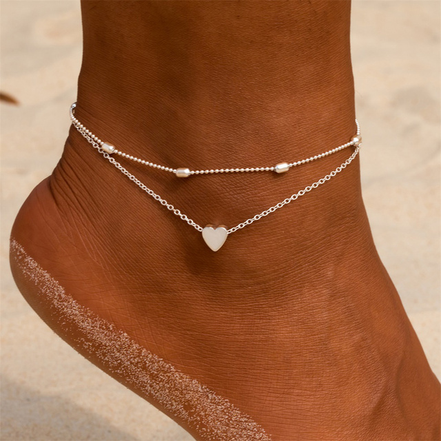 Simple Heart Female Anklets Barefoot Crochet Sandals Foot Jewelry 1