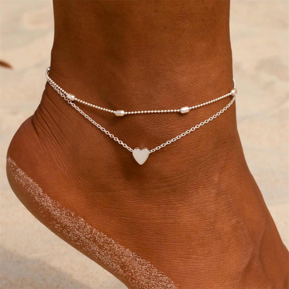シンプルなハート女性アンクレット素足かぎ針編みサンダルフットジュエリー脚新アンクレット足足首のブレスレット女性の脚チェーン