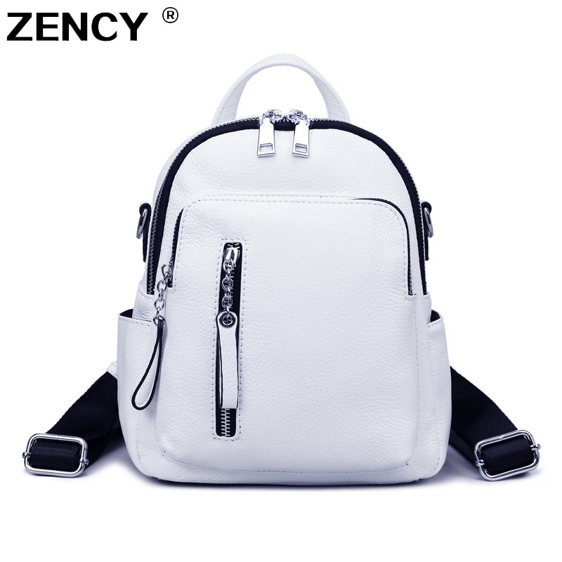 ZENCY Silver Hardware Daily 100% Genuine Cow Leather White Women Backpack Lady Girl Top Layer Cowhide Book Bag Style Knapsack