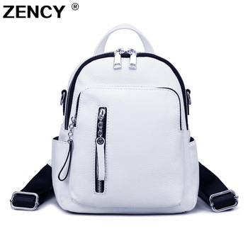 ZENCY Silver Hardware Fashion 100% Genuine Cow Leather White Women Backpack Lady Girl Top Layer Cowhide Book Bag Style Knapsack