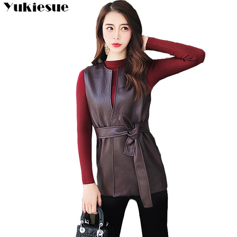 Autumn Women lace up Long Vest Suede Bottom PU Leather Black Sleeveless Coat Female Club Outwear Street Office Basic Vests 2018