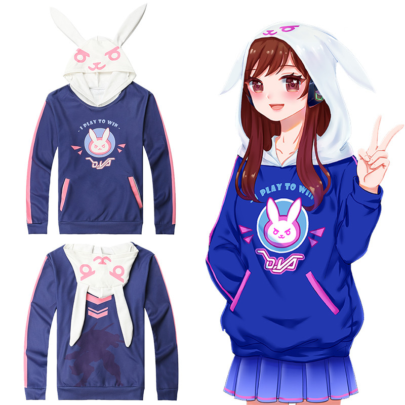 Hot Game OW D.Va Hoodies & Sweatshirts Cosplay Women's  Casual Cotton Fleece Printed O-Neck Top Unisex Blue Clothing