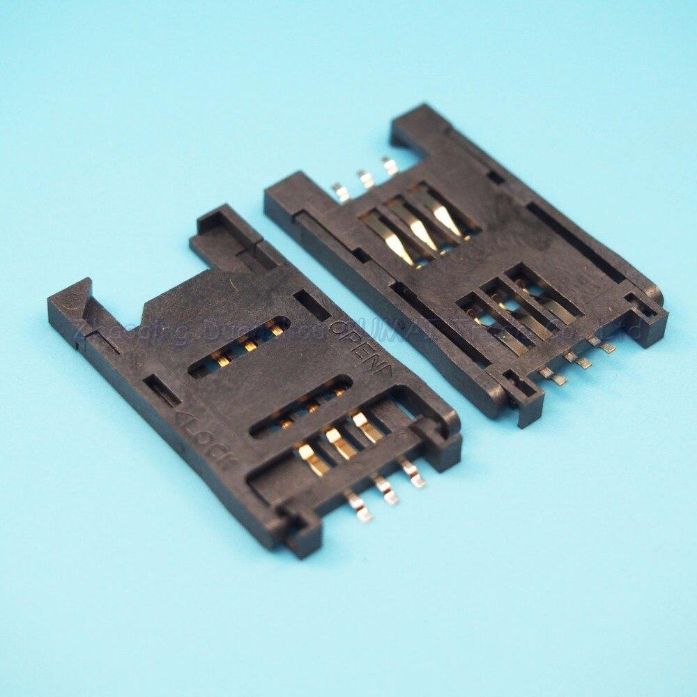 20pcs/lot SIM card holder Clamshell Full plastic six feet Mobile phone SIM card slot connector
