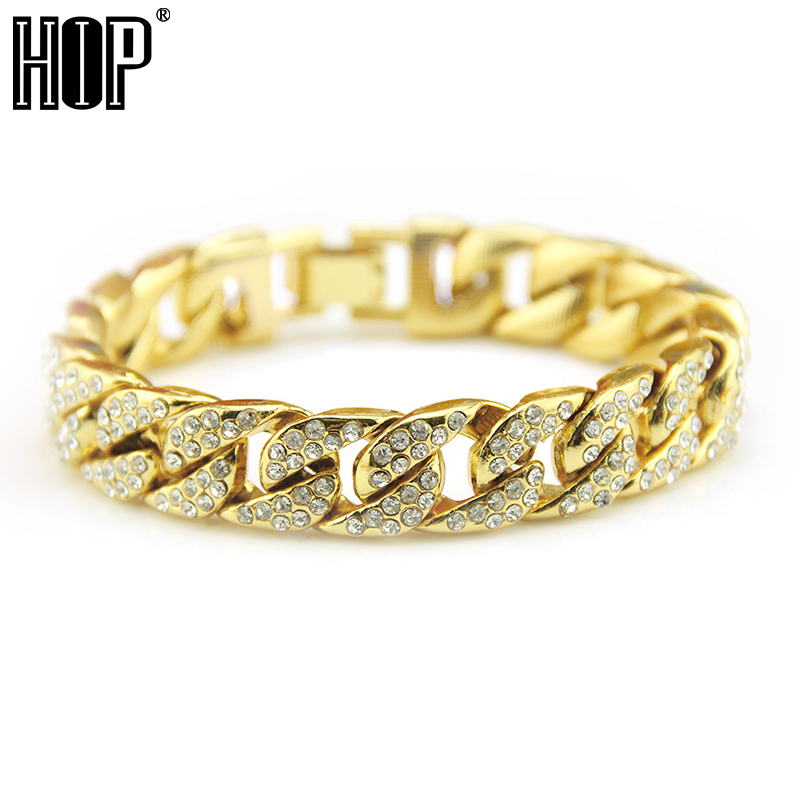 Hip Hop Bling Iced Out Full AAA Rhinestone Men s Bracelet Gold Silver Color Miami  Cuban Link Chain ... 6ad0e9b4b357