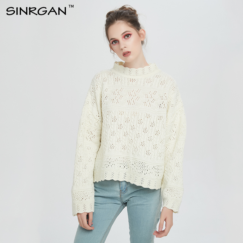 SINRGAN Women Pullovers Ruffled Collar Long Sleeve Sweaters
