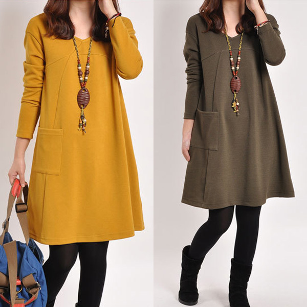 2017 Spring Autumn Robe Vintage Dresses Women Clothing Casual Dresses Loose Knee-length Retro Dress Green Yellow Gray Clothes
