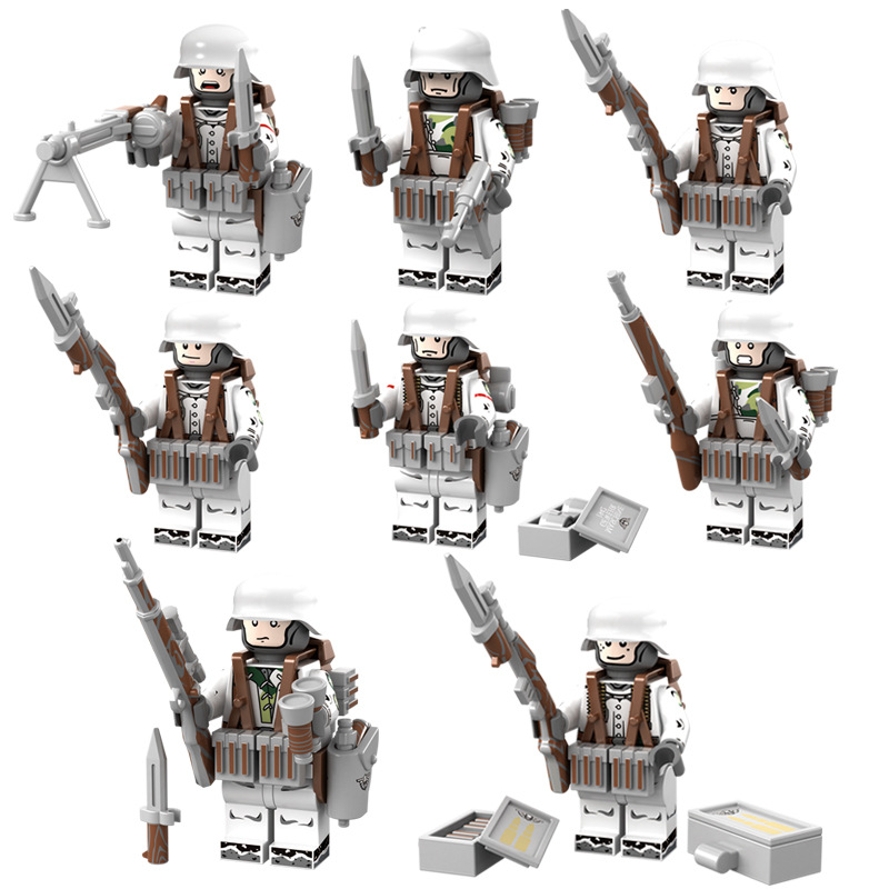 8Pcs/Lot World War 2 Army Team German Military Soldiers with Gun Weapons LegoINGlys ww2 Block Set Building Bricks Toy For Boys