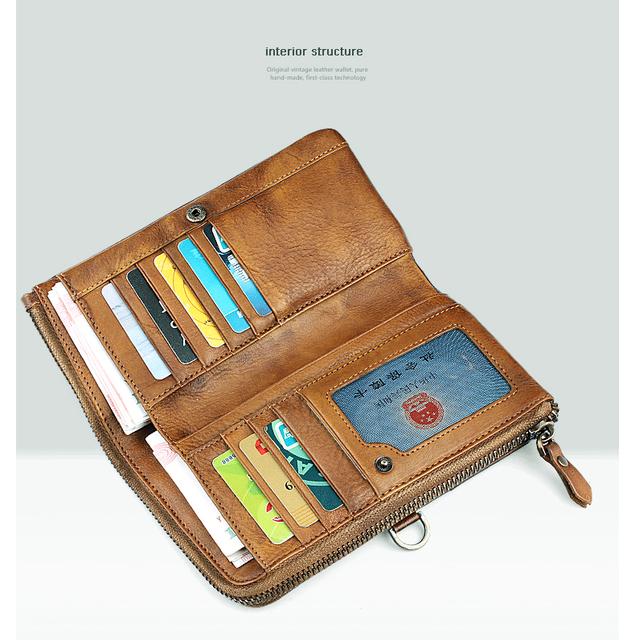 Vintage Genuine Leather Wallet Men Wallet Leather men purse Long Clutch Wallet Money holder male wallet coin Purse card holder