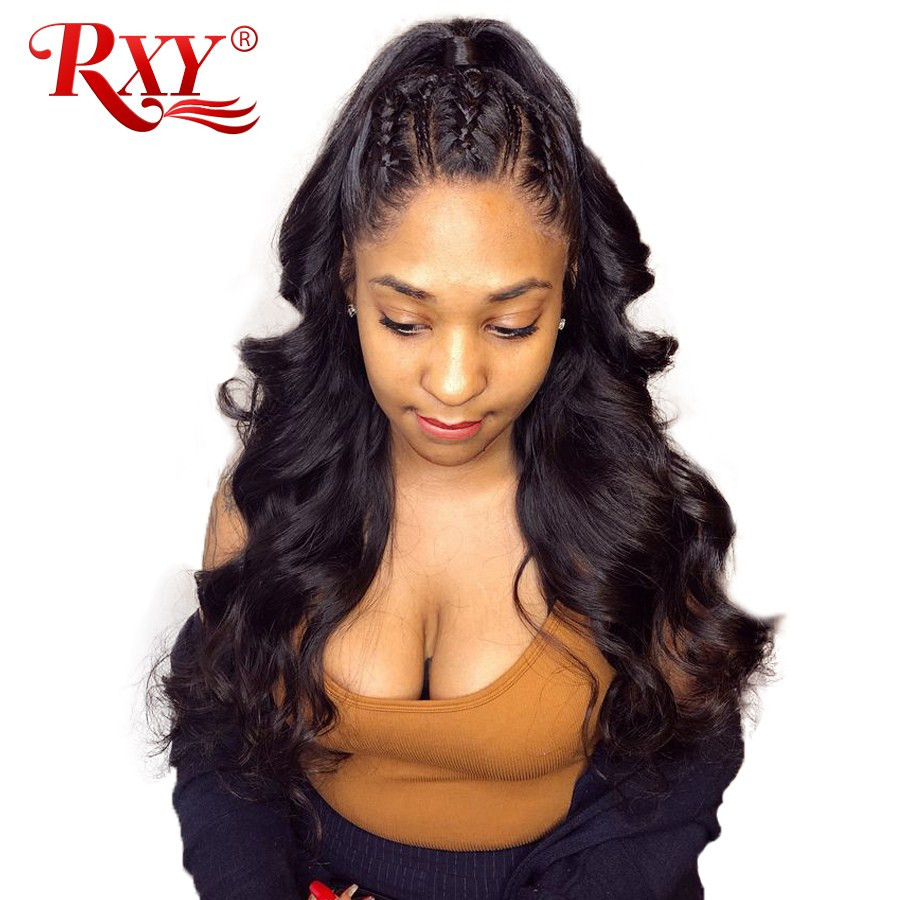 RXY Lace Front Human Hair Wigs Pre Plucked Full Lace Human Hair Wigs Brazilian Body Wave Lace Front Wigs For Black Women NonRemy